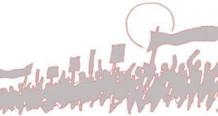 menschen laufen auf demonstration mit roter fahne